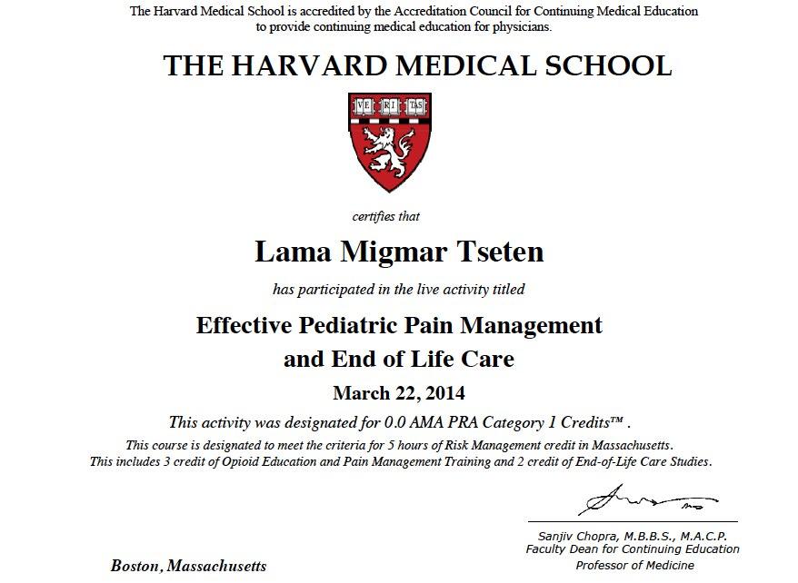 Lama Migmar HMS certification