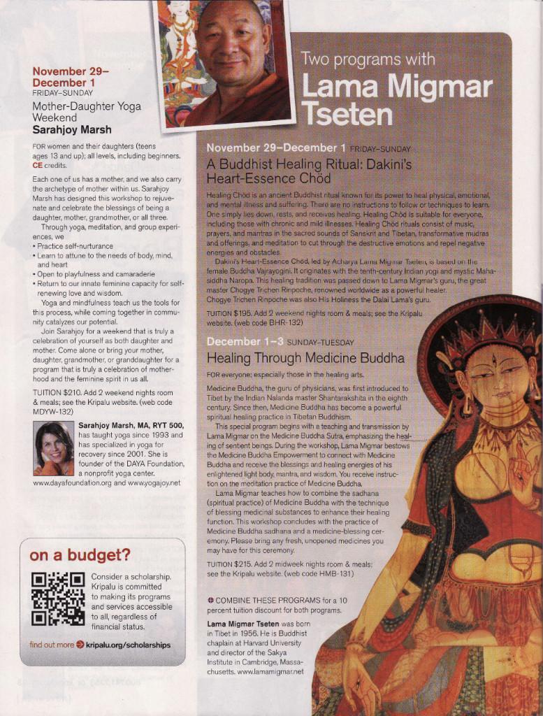 Lama Migmar retreat Kripalu magazine 2