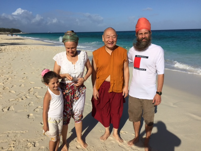 Lama Migmar with Snatam Kaur, world famous Kirtan singer and her family during Sivananda Ashram Yoga Retreat Bahamas teaching.