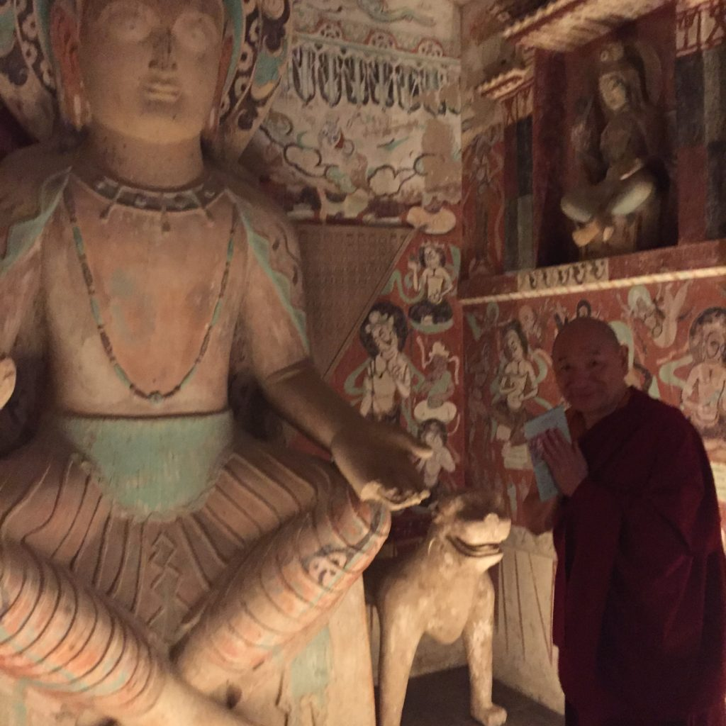 Lama Migmar visiting Replicas of cave temples of Dunhuang at Getty Museum in Los Angeles, California on August 6, 2016 after teaching at Arcadia, California