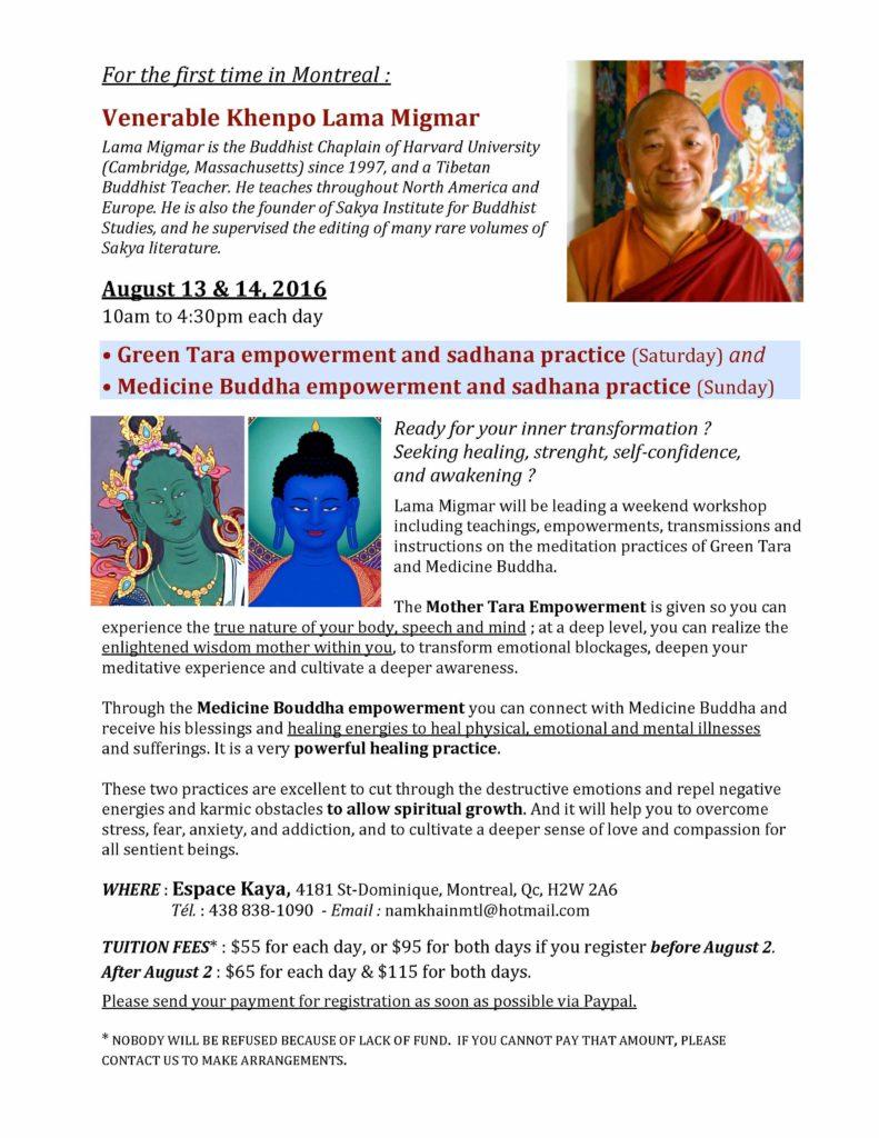Lama Migmar Green Tara and Medicine Buddha session in Montreal