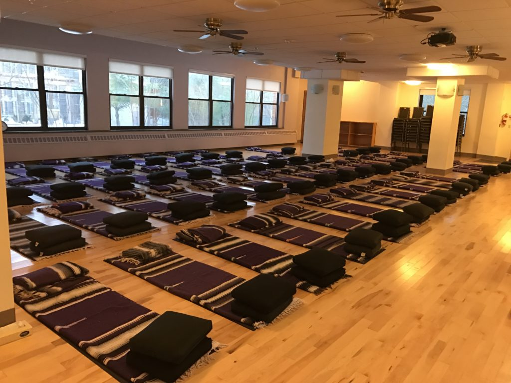 Preparing to begin workshop with Lama Migmar at Kripalu on Friday 25,2016.